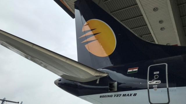 A Jet Airways Boeing 737 MAX 8 aircraft is seen parked inside a hanger during its induction ceremony at the Chhatrapati Shivaji International airport in Mumbai