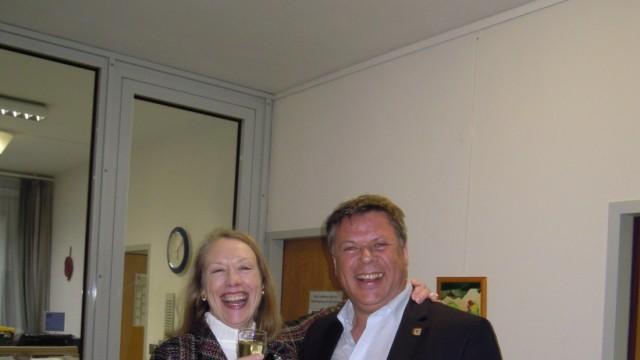 Bürgermeisterwahl Zorneding 2014, unterlegene Kandidatin Bianka Poschenrieder (SPD) und bestätigter Bürgermeister Piet Mayr (CSU)
