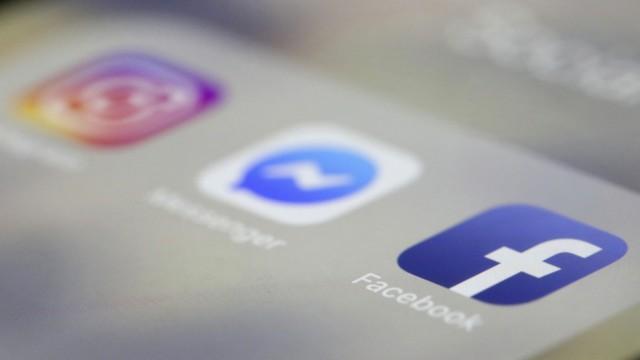 Logos von Facebook, Messanger und Instagram auf einem Screen
