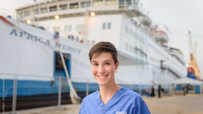 """Judith Arnold, Ärztin aus München, diente auf dem Hospital-Schiff """"Mercy Ship"""" vor der Küste Westafrikas. Foto: oh"""