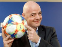 FIFA President Gianni Infantino addresses the media in Rome