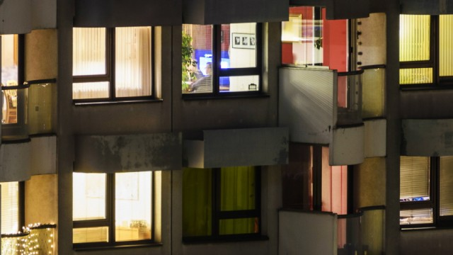 lit apartments in apartment house people watching TV Wien Vienna Wien Austria 22 Donaustadt