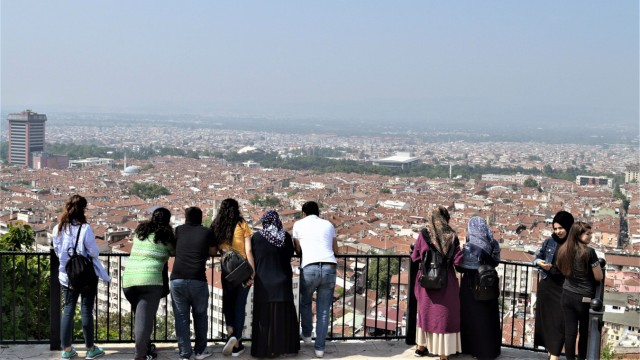 May 1 2018 Bursa Turkey People look at the view of a landscape from the terrace of Tophane Par