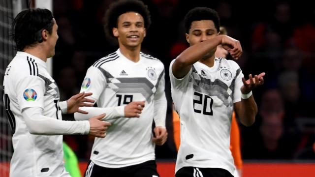 DFB-Nationalmannschaft - Nico Schulz, Leroy Sane und Serge Gnabry 2019 gegen die Niederlande