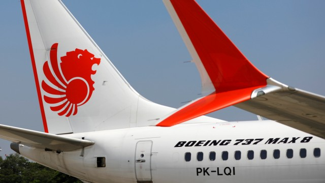 Lion Air's Boeing 737 Max 8 airplane is parked on the tarmac of Soekarno Hatta International airport near Jakarta