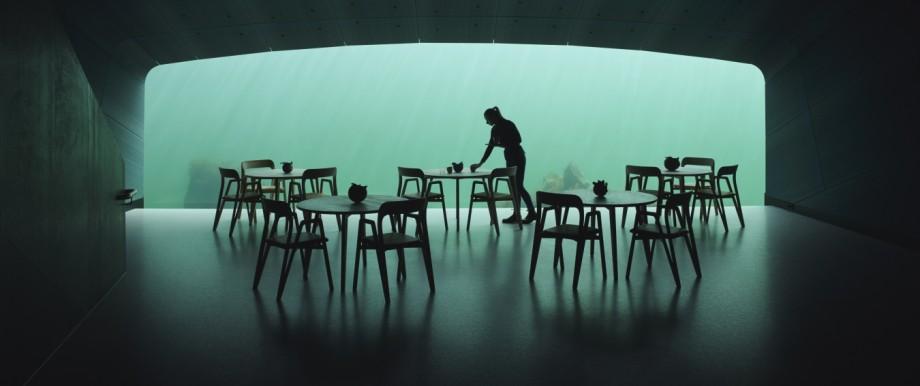 Die Einrichtung des Unterwasser-Restaurants ist puristisch.