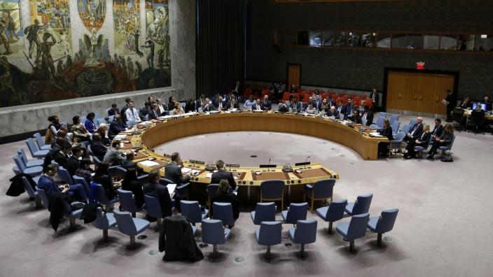 Der UN-Sicherheitsrat der Vereinten Nationen bei einer Tagung