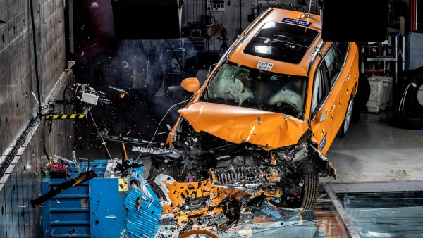 A crash test of a Volvo XC 90 vehicle is presented at the Volvo Cars Safety Center in Gothenburg