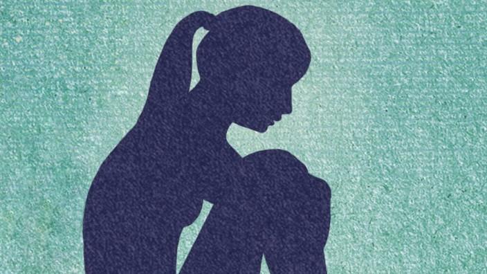 Depressive junge Frau abhängig von Medikamenten PUBLICATIONxINxGERxSUIxAUTxONLY Copyright xMarcusxB