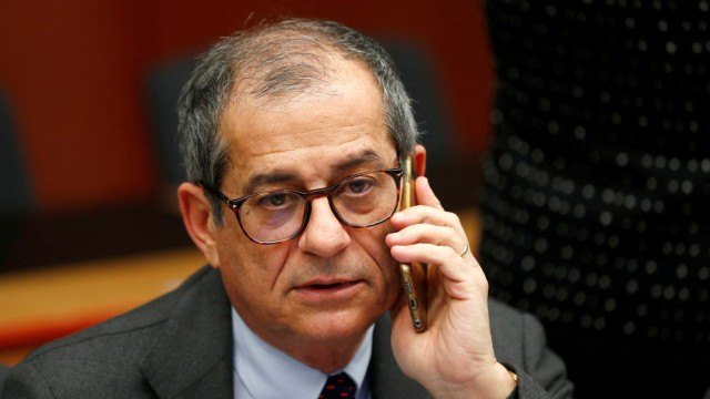 FILE PHOTO: Italian Economy Minister Tria attends a euro zone finance ministers meeting in Brussels