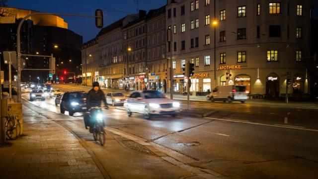 München: Au-Haidhausen, Schmuckfoto, Symbolfoto: Verkehr Müllersches Volksbad/Gasteig/Ludwigsbrücke