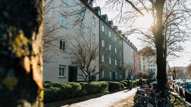 Das sogenannte Hohenzollern-Karree am 16. Januar 2019 in Schwabing, München.
