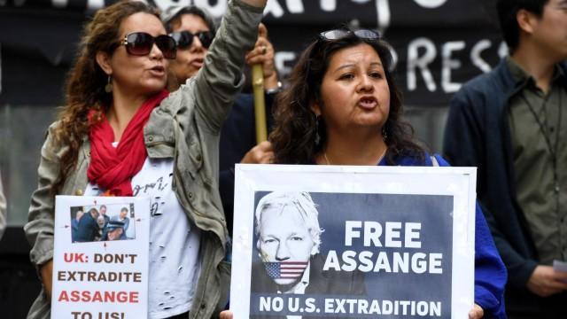 Protest gegen Verhaftung von Assange