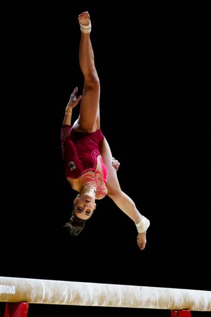 Pauline Schäfer im  EM-Finale am Schwebebalken
