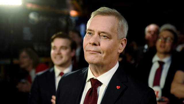 Chairman of the Finnish Social Democratic Party Antti Rinne attends the election party in Helsinki