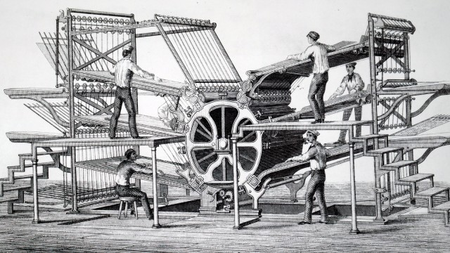 Richard March Hoe's six-feeder rotary printing press.