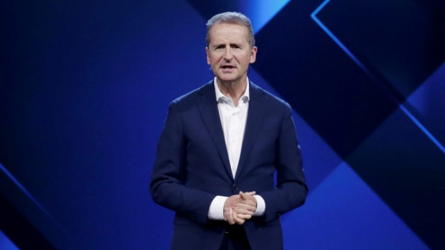FILE PHOTO: Herbert Diess, Volkswagen's new CEO, speaks at a Volkswagen Group's media event in Beijing