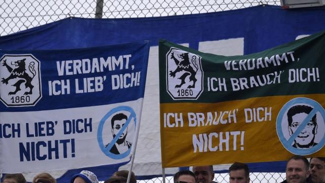 13 04 2019 Fussball 3 Bundesliga 2018 2019 33 Spieltag TSV 1860 München Preußen Münster im G; 1860 München: Plakate gegen Hasan Ismaik im Spiel gegen Münster