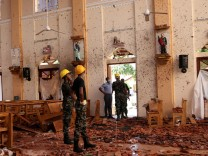 A view of the damage at St. Sebastian Catholic Church in Negombo