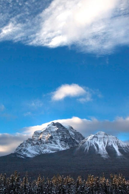 A mountain inside Banff national Park is shown in the early morning near Lake Louise