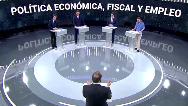Main candidates for Spanish general elections hold their first televised debate in Pozuelo de Alarcon, outside Madrid