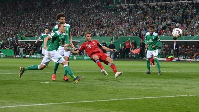 24 04 2019 Soccer GER Season 2018 2019 DFB Pokal Semifinals SV Werder Bremen FC Bayern Mue; Thomas Müller
