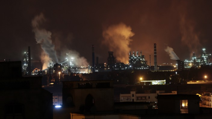 ILVA steel plants are seen in Taranto late in the night.