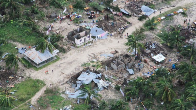 The aftermath of Cyclone Kenneth is seen in Macomia District