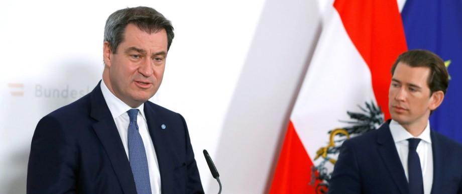 Premier of the German state of Bavaria Soeder meets Austrian Chancellor Kurz in Vienna