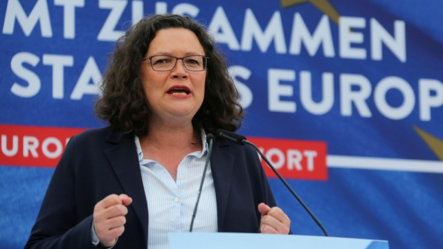 Social Democratic Party leader Nahles attends an EU election campaign rally in Saarbruecken