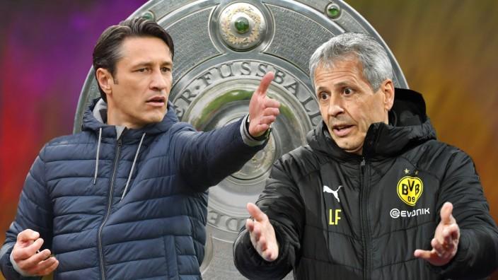 FOTOMONTAGE Spannend wie nie der Kampf um die Meisterschaft ist offen wie selten zuvor Niko KOVAC; Favre Kovac Bundesliga Fotomontage