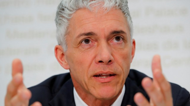 FILE PHOTO: Swiss Attorney General Lauber attends his yearly news conference in Bern