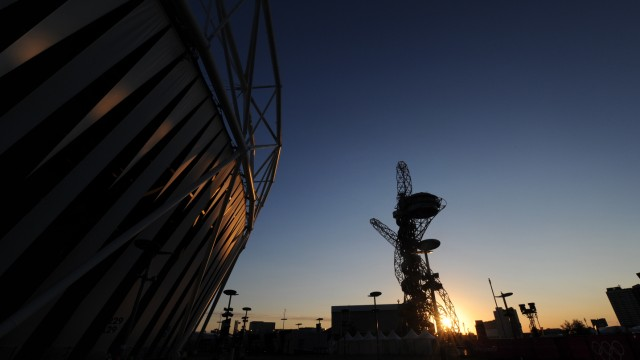 The sun rises over the Olympic Park in Stratford, east London