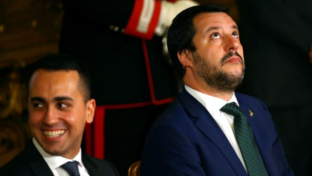 FILE PHOTO: Interior Minister Matteo Salvini looks on next to Italy's Minister of Labor and Industry Luigi Di Maio at the Quirinal palace in Rome
