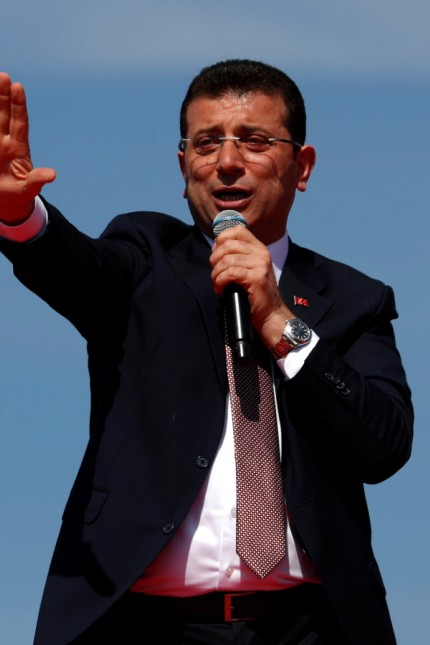 Mayor of Istanbul Imamoglu of the main opposition CHP addresses his supporters during a rally in Istanbul
