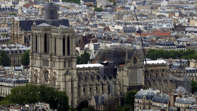 A view shows Notre-Dame Cathedral after a massive fire devastated large parts of the gothic structure, as French environmental NGO warns about air pollution and lead dust released in the air by Notre-Dame Cathedral dramatic fire in Paris