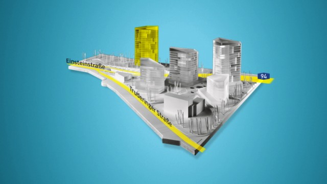 Vogelweideplatz - neue Hochhäuser - Bogenhausener Tor Simulation: Nieto Sobejano