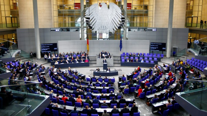 Session at the lower house of Bundestag parliament to mark the 70th anniversary of the German constitution, in Berlin