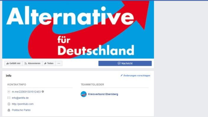 AfD Kreisverband Ebersberg verlinkt auf Pornoseite