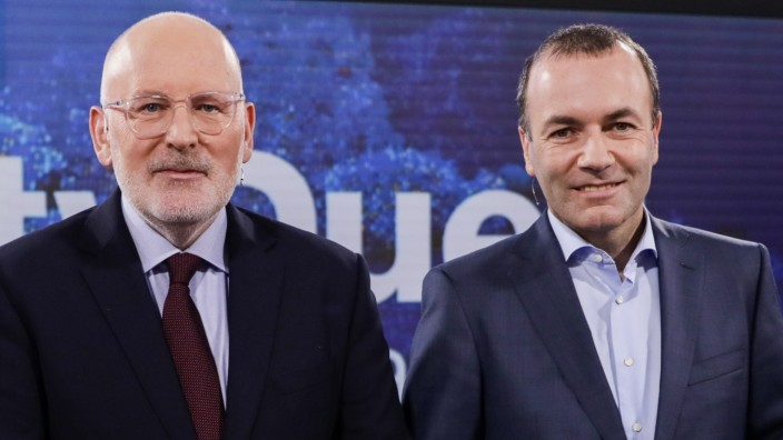 European Elections Candidates Weber And Timmermans Hold Live Television Debate