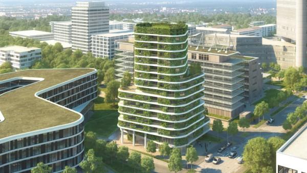 An der Arabellastraße soll Münchens erstes grünes Hochhaus entstehen.