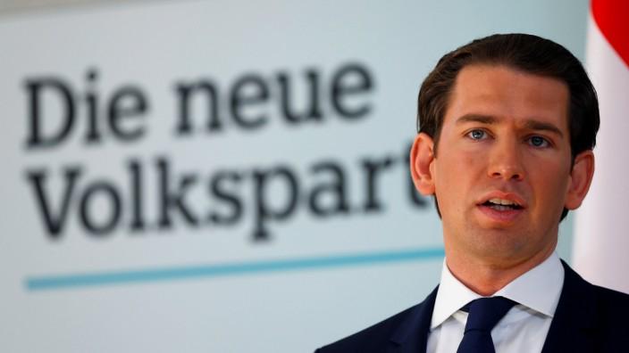 Österreich - Bundeskanzler Sebastian Kurz auf einer Konferenz 2019 in Wien