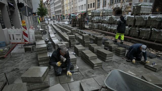 Baustelle Sendlinger Straße, Bauarbeiten zum Umbau zur Fußgängerzone