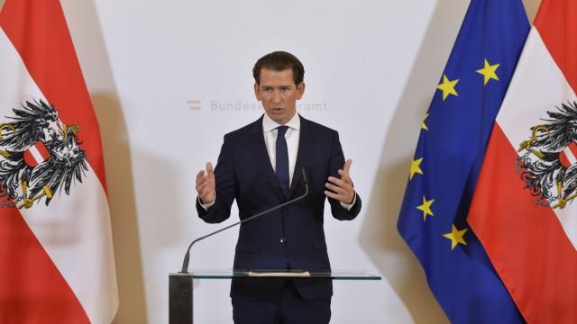 Regierungskrise in Österreich - Sebastian Kurz bei einer Stellungnahme im Bundeskanzleramt