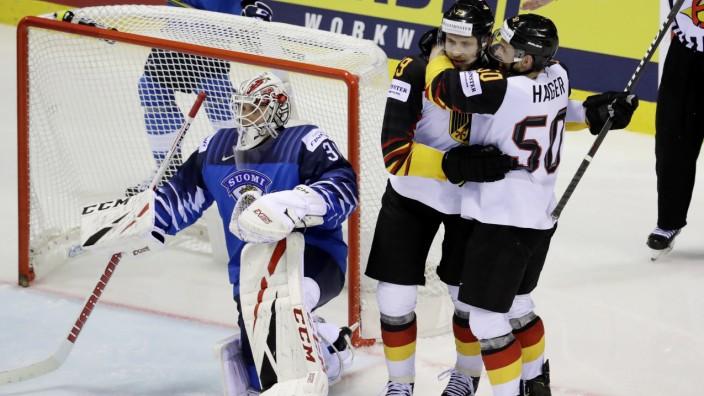 Eishockey-WM - Leon Draisaitl bejubelt ein Tor gegen Finnland