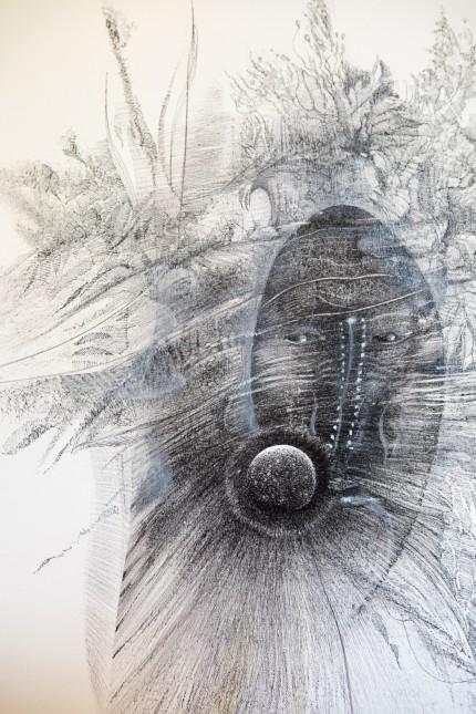 """Ausstellung Schwarz auf Weiß âÄ"""" Zeichnungen und Collagen von Manfred Popp in der Galerie im Schlosspavillon, Ismaning, Schloßstraße 1"""