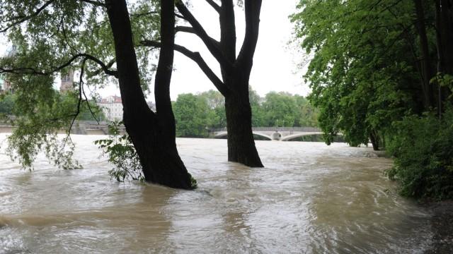 Hochwasser an der Isar in München