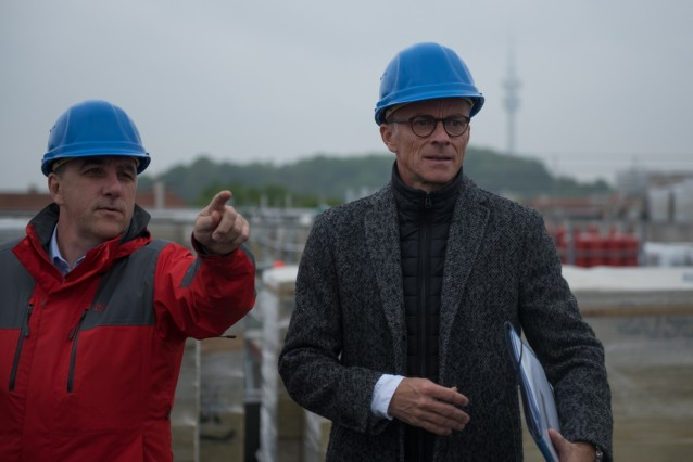 Baustellenbegehung München Klinik Schwabing mit Dr. med. Axel Fischer und Michael Bergmann-Mitzel