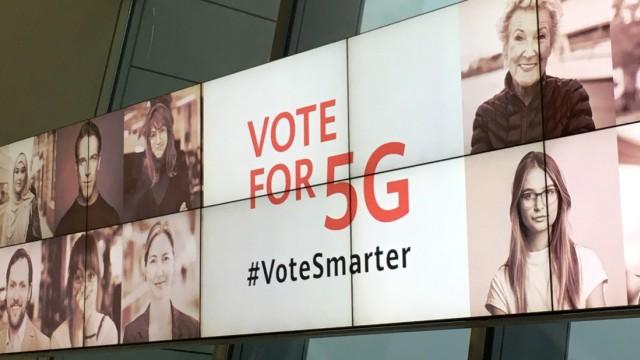 Huawei-Wahlplakat in Brüssel