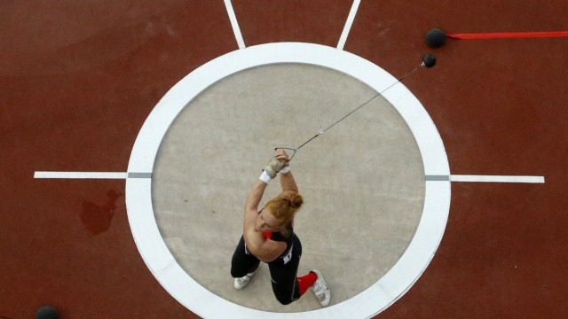 Germany's Betty Heidler competes in the women's hammer throw final at the London 2012 Olympic Games at the Olympic Stadium